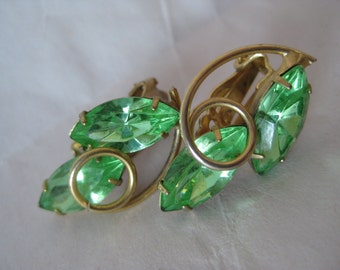 Green Rhinestone Gold Earrings Clip Vintage