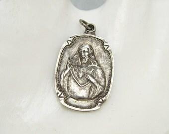 Vintage Sterling Sacred Heart Pendant Religious Medal C6373