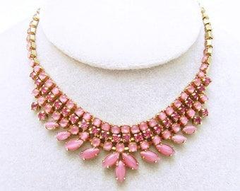 Vintage Rhinestone Necklace Pink Rhinestone Jewelry Warner Jewelry N6570
