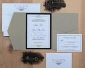 Elegant Wedding invitation, Black and Gold Invitation, Pocket Fold Invitation SAMPLE