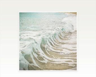 SALE 30% OFF Surf Art, Ocean, Water Photography, Beach Decor, Waves, Bathroom Art, Blue Green, White, Aqua, Beige, Beach House Decor - Sea F
