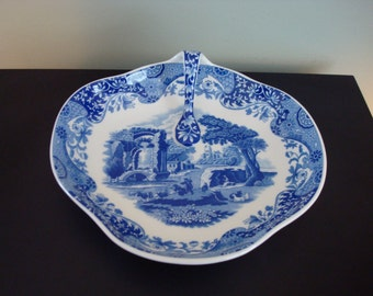"Gorgeous blue and white Spode ""Italian"" dish (tray) with handle- England"