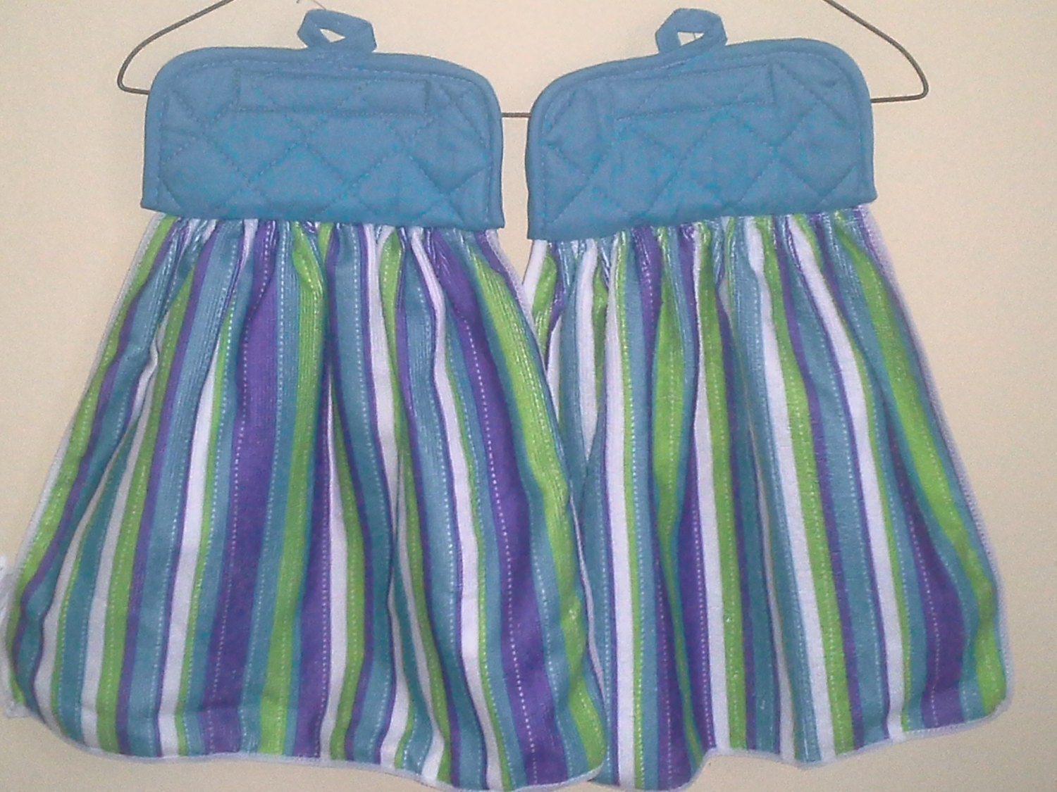 Set of TWO Velcro Hanging Dish Towels/Pot Holders Teal Blue and Stripes