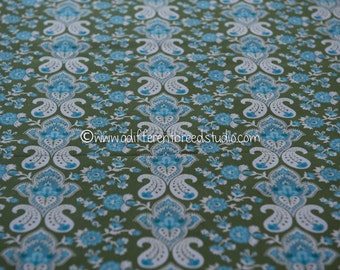 """Mid Century Paisley Stripe - Vintage Fabric 50s 60s New Old Stock 43"""" wide"""