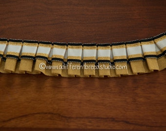 Elegant Pleated Striped Ribbon- 3 yards Vintage Box Pleat Ribbon Gold Black Metallic