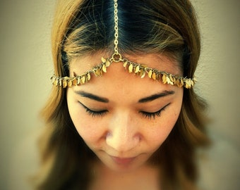 Grecian Chains HeadPiece - Soldered Leaves Charms - Golden Brass - Domestic Free Shipping