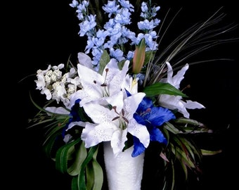 White & Blue Silk Flower Arrangement, Wedding, Lilies, Delphinium, Milk Glass Vase