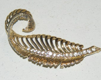 Vintage Wispy Curled Feather  Rhinestone Brooch