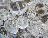1 Pound Faceted Czech Glass Beads Clear Crystal Color 4mm To 18mm Round Oval Teardrop Rondelle Sphere Jewel Faux Quartz Huge Lot Sale Lb BB1