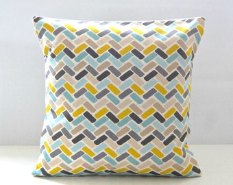 14 / 16 inch decorative pillow cover blue teal yellow grey abstract blocks cushion cover  35 / 40 cm
