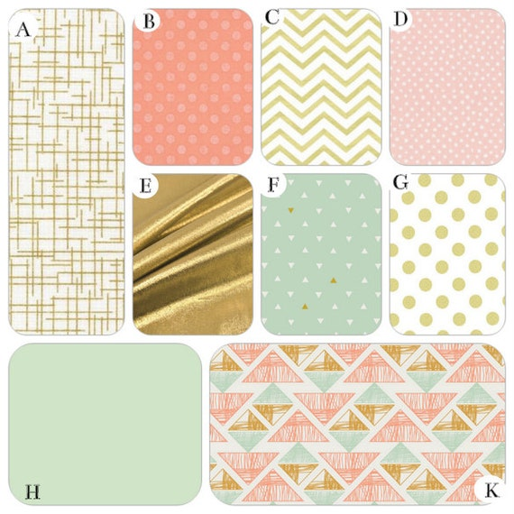 Items similar to coral peach mint and gold metallic for Peach and gold bedroom