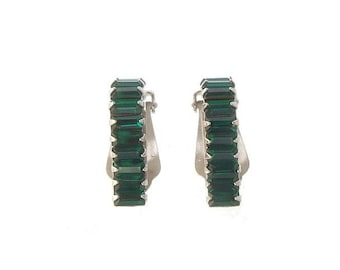 Emerald Earrings, Vintage Baguette Emerald Clip Ons, 1940s Rhinestone Jewelry, Vintage Jewellery