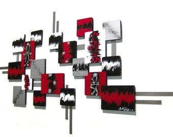 Red Black Contemporary Modern Abstract Square wood and metal Sculpture 68x40 by Alisa R Tarpley