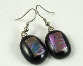 Handmade Pinks Dichroic Fused Glass Earrings - Dichroic Glass - Fused Glass Earrings - Fused Glass Jewelry - Nickel Free Earwires A2325B6