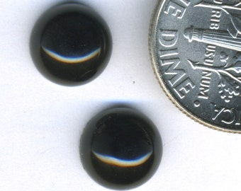 BLACK ONYX Natural Agate Stone 8mm Round Cabochons THREE Pair (6 stones)
