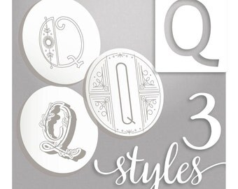 Modern Monograms Letter Q hand embroidery patterns in three styles Alphabet Letter embroidery designs by SeptemberHouse