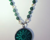 Gemstone and Pewter Pendant Necklace - Malachite, Swarovski Pearls & Crystals, Large Pewter and Green Pendant