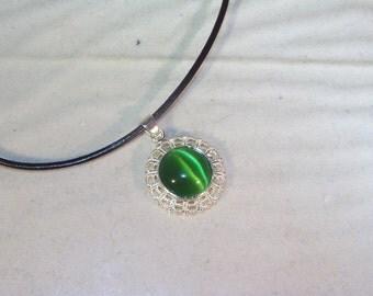 GENUINE GEMSTONE JEWELRY - Dark Green Cats Eye Cabochon -  Leather Cord Necklace