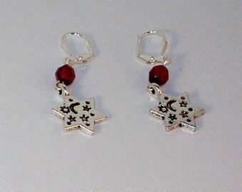 Silver Star of David and Garnet Crystal Earrings