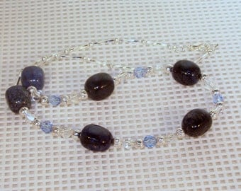 Gemstone and Swarovski Crystal Jewelry - Dumortierite and Crystal Necklace