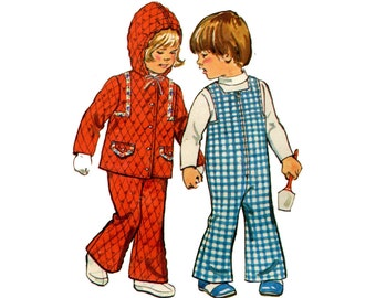 1970s Toddler Overalls and Jacket Pattern Bell Bottoms Hooded Jacket Snap Crotch Winter Play Simplicity 6636 Size 2 Vintage Sewing Pattern