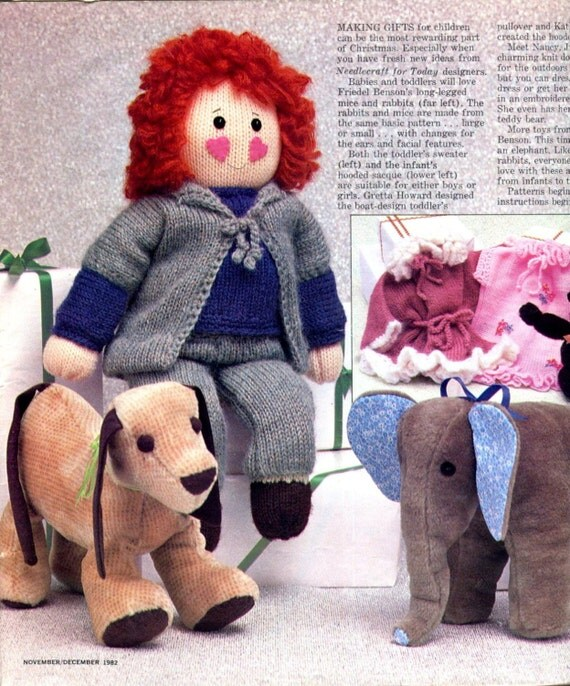 Doll and Clothes Knitting Pattern Dressable Doll Teddy ...