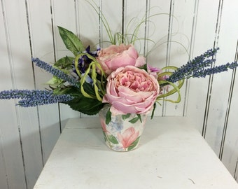 Small Pink and Blue Flower Arrangement, Table Centerpieces, Floral Table Piece, Flower Arrangements, Home Decor