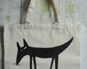 Tote bag hand stenciled, dog design folk art on tote bag