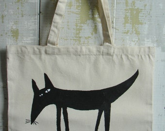 Tote bag hand stenciled, dog design folk art on tote bag
