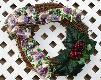 Grape Wreath - Spring Wreath - Summer Wreath - Grapevine Wreath - Door Wreath - Front Door Wreath - Spring Grapevine Wreath - Grapes Wreath
