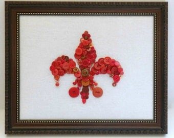 Button Fleur di lis, Button Art, Button Wall Hanging, Fleur di lis Wall Art, Framed Button Art