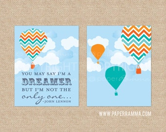 I'm A Dreamer / John Lennon Nursery Art / Giclee Art Prints for Nursery / Child's Room - Custom Match colors to your room // N-G20-2PS AA1