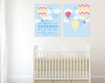Nursery art prints, hot air ballon art, Beatles art prints for Nursery, nursery wall prints, customize in any color // N-G20-2PS AA1 03A
