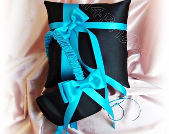 Wedding Ring Bearer Pillow Flower Girl Basket Black Turquoise Wedding Ceremony Accessories Decor