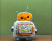 Needle Felted Wool Alpaca Happy Robot Ready to Ship