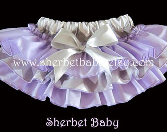Gray Chevron and Lavender Sassy Pants Original Ruffle Diaper Cover Bloomers