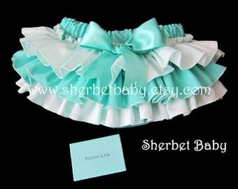 Classic Ruffle Diaper Cover Bloomer Aqua Blue Green