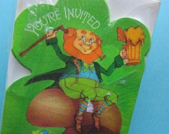 Leprechaun Party Invitations Vintage Hallmark St. Patrick's Day New In Package of 8 Cute!