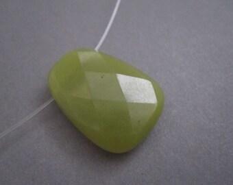 Olive Jade Pendant, Olive Jade Briolette, Focal, 22mm x 29mm, SKU 4264A
