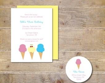 Ice Cream Party Invitations . Birthday Invitations . Birthday Invites . First Birthday . Second Birthday . Third Birthday - Cherry Please