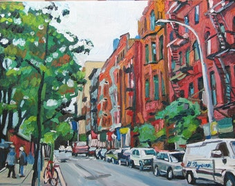 NYC City Red Buildings New York Art  NYC Art Wall Decor Fine Art Print 8x10, Spring Cityscape Painting by Gwen Meyerson