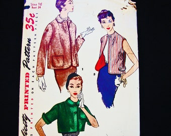 1950s Jacket Pattern size 16 Bust 34 Womens Bolero Jacket Sewing Pattern Short Jacket Sleeveless Vest Vintage Sewing Pattern