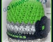 Seattle Seahawks Crochet Criss Cross Beanie for Girls Go Hawks 12's