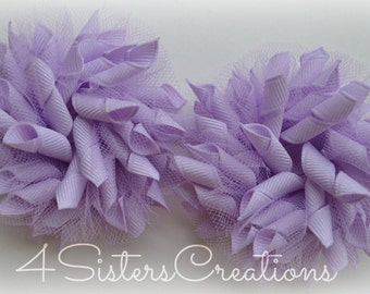 Small Korker Bow Set - Solid Lavender with Tulle