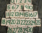Sandpaper Numbers 0-30 mounted on birch
