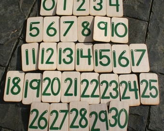 """Sandpaper Numbers 0-30 mounted on 3""""x5"""" birch"""