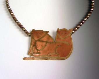 Three Cats Pendant Pearl Necklace OOAK Unique Etched 24kt Gold Copper