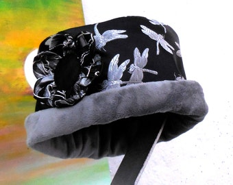 NEW CLOCHE STYLE Silver DragonFly Print Reversible Fabric Hat....