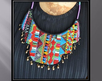 Bright colorful embroidered BOHO statement necklace, sale