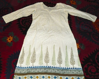 Vintage Indian Block Printed Tunic Trees on a ground of sheer white cotton damask XS